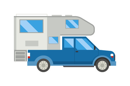 motorhome: Family traveler camping truck car driving on the road. Outdoor journey camping truck car traveling vacation concept. Camping truck car caravan motorhome van. Camping truck car vacation transport.