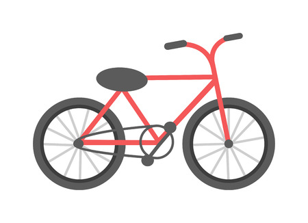 single seat: Red bicycle isolated on a white background vehicle, frame cycling pedal gear transportation vector. Red bike gear transportation and brake exercise road red bike. Red mountain bike.