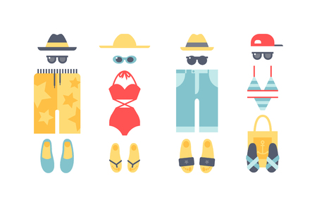 Grande set di abbigliamento costumi da bagno spiaggia di costumi da bagno. moda panno Beachwear aspetto e stile di vita abbigliamento costumi da bagno vacanza al mare. Abbigliamento da spiaggia costumi da bagno bikini vacanza vestiti biancheria intima vettoriali.