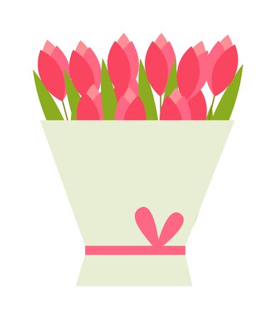 tulips isolated on white background: Purple tulips bouquet isolated on white background. Flat tulips bouquet and beautiful spring flowers tulips bouquet. Nature pink blossom tulips bouquet with ribbon. birthday tulips bouquet