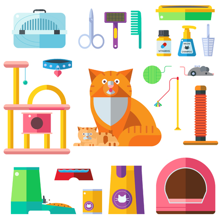 cat grooming: Colorful cat accessory and cute vector animal icons collection pet equipment elements. Cat food and Accessories isolated on white. Cat accessories and food, domestic feline cat accessories