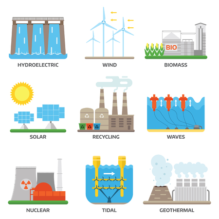 Different types of power and energy sources generation including wind, solar, hydro or water dam and other. Energy sources renewable or sustainable and energy sources power plants.
