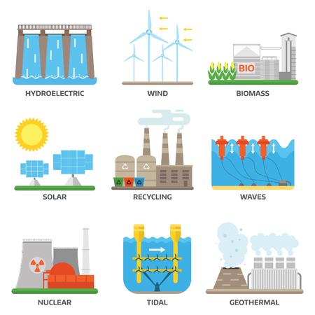 Verschillende soorten van macht en energie opwekking zoals wind, zon, waterkracht of water dam en andere. Hernieuwbare energiebronnen en duurzame en energie centrales.
