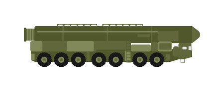 launcher: Military rocket launcher vector illustration. Truck rocket launcher and war rocket launcher. Rocket launcher weapon danger explosive technology. Rocket launcher army war gun, attack handgun terrorist.