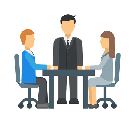 Business competition rear two worker wearing formal suit and kneeling on the start compete vector. Business competition success concept people and business competition leadership team. Illustration