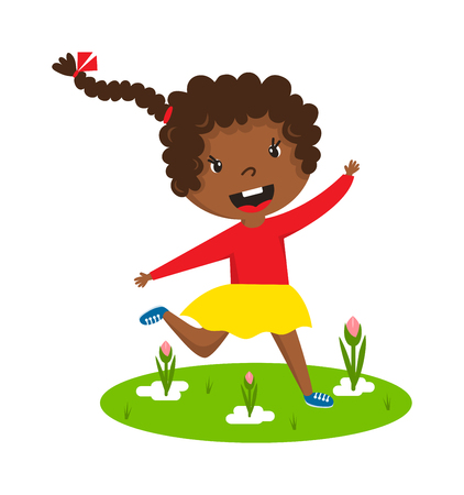 frizzy: Cute running black afro girl with curly frizzy hair on green grass vector character illustration. Afro girl running young female happy kid and afro girl running training sport runner play game. Illustration