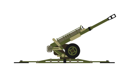 launcher: Air defense gun missiles pointing to the sky army war rocket vector. Air defense gun armed sky rocket launcher and air defense destruction danger gun. Aggression vehicle air defense gun.