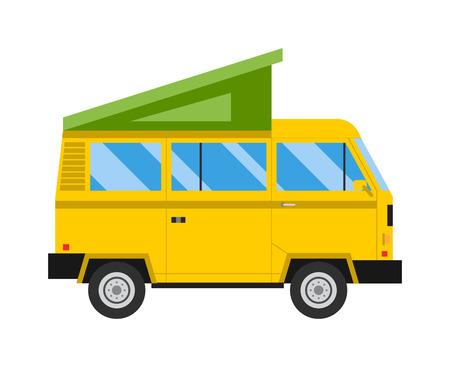 Retro camper van and travelers equipment car tent summer vacation vector. Outdoor camping car tent and car tent travel vehicle vector. Flat car tent outdoor camping leisure icon. Car tent protection.