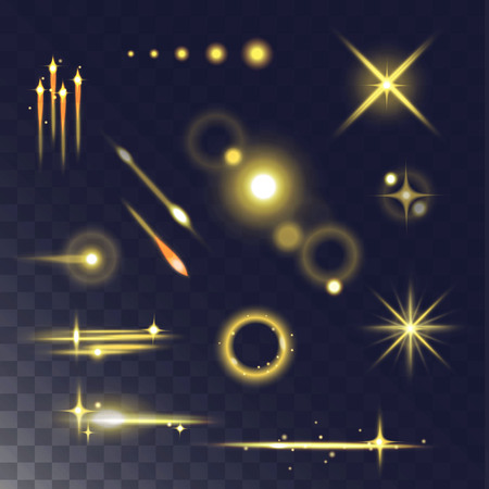 Glowing lights effect and stars. Light effect isolated on dark transparent background. Vector illustration light effect and light effect abstract glow blur stars. Light effect design flare glitter. Ilustrace