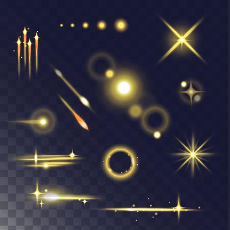 Glowing lights effect and stars. Light effect isolated on dark transparent background. Vector illustration light effect and light effect abstract glow blur stars. Light effect design flare glitter. Ilustração