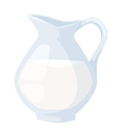 milk jug: Natural whole milk in a jug and a glass isolated on white background. Natural milk jug and fresh milk jug. White milk jug and healthy milk jug product glass beverage food. Natural organic milk.
