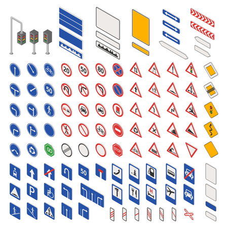 city limit: Different highly detailed and fully editable vector traffic road sign collection. Set of road sign collection warning, priority, prohibitory symbol. Road sign european and american style design vector