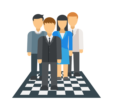 playing the market: Corporate business market strategy flat style design vector illustration infographics concept people on chessboard. Businessmen people are figures on chessboard playing. People on chessboard