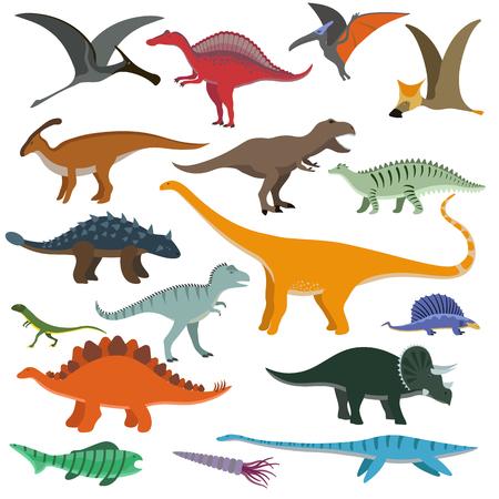 공룡 만화 컬렉션 벡터 일러스트 레이 션을 설정합니다. 만화 공룡 귀여운 괴물 재미 동물과 선사 시대 캐릭터 만화 공룡. 만화 만화 티라노 판타지 공 일러스트
