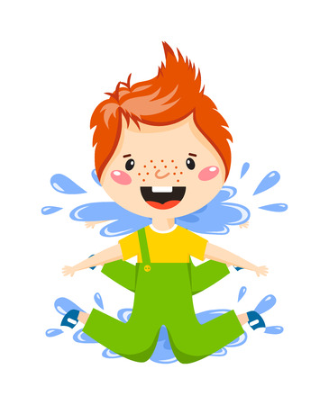 playful: Playful boy jumping in puddle on rainy autumn day vector illustration. Boy in puddle fun water rain child and boy in puddle little weather childhood. Spring splash play boy in puddle rainy happy jump. Illustration