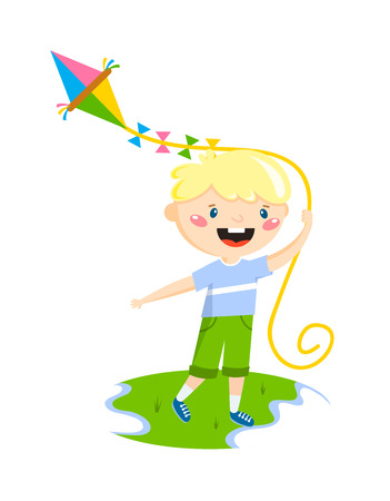 fun activity: Little boy plays with fly kite character vector illustration. Playing little boy and fun happy playing boy. Playing boy leisure summer playful small boy activity. Cheerful smiling boy outdoors game. Illustration