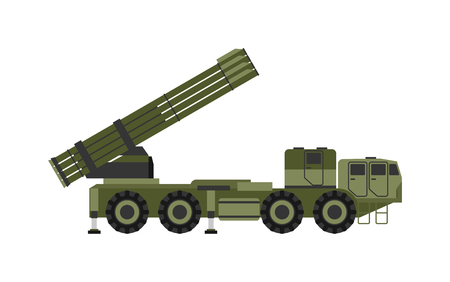 launcher: Military rocket launcher vector illustration. Weapon army rockets launcher and rockets launcher military war gun. Rocket launcher armed dangerous violent and explosive rockets launcher.