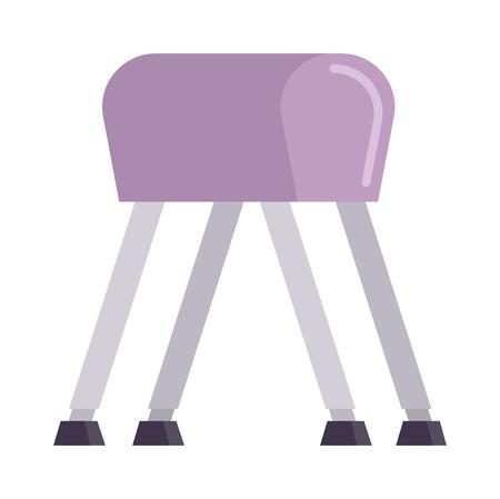 pommel: Sports pommel in gym isolated. Pommel horse flat vector and sport gym pommel horse. Pommel horse sport competition athlete gymnast. Pommel horse health body. Pommel horse training balance.