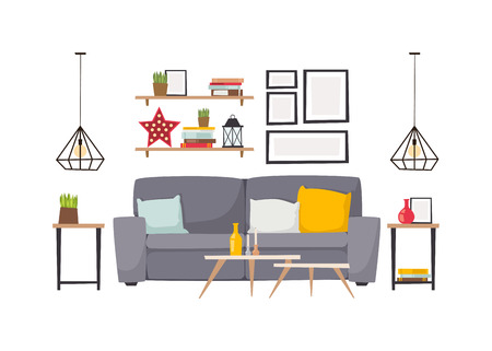 carpet clean: Stylish living room apartment interior with grey sofa and small coffee table. Light apartment interior with flooring and decorative signs. apartment interior. Apartment interior vector design. Illustration