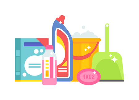 washing powder: Set tools for cleaning isolated on white background. Vector illustration home chemistry isolated. Home chemistry isolated liquid hygiene and home chemistry isolated domestic spray housework.