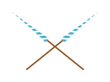 chivalry: Two crossed lances wooden design vector illustration. Spear lance weapon, medieval warrior lance. History wood knight lance and lance hero joust chivalry fighter tournament battle lance weapon.