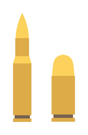 caliber: Bullets vector icons. Bullet ammunition military weapon and gun war danger bullet. Ammo shot caliber bullet and army crime bullet. Copper fire violence rifle battle bullet pistol, Criminal handgun. Illustration