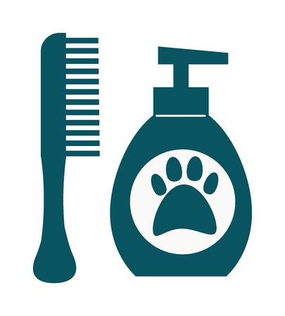 dog grooming: Pet dog shampoo flat icon grooming health bathtub hygiene vector. Dog hygiene shampoo grooming health tub and bathtub dog hygiene shower. Dog hygiene grooming, shampoo bubble hygiene wash tub. Illustration