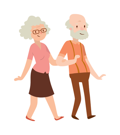 cheerful cartoon: Cheerful senior couple enjoying peaceful nature retired couple. Retired couple vector illustration. Retired old couple and happy cartoon retired couple. Retired senior retirement people smiling.