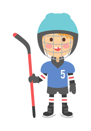 cartoon hockey: Cute cartoon hockey player boy isolated vector illustration children playing hockey. Boy hockey player game sport and cartoon character boy hockey player. Boy hockey player ice game sport athlete.