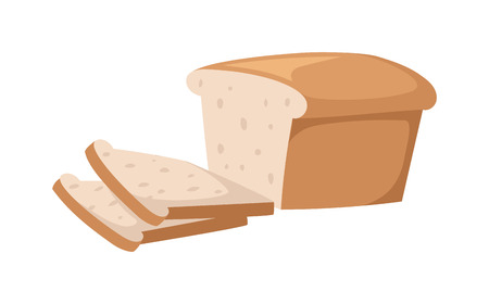 bake: Sliced bread isolated on white background. Bread slices vector food and fresh tasty bread slices. Bread slices breakfast loaf white wheat and bread slices diet crust natural eat fresh bake.