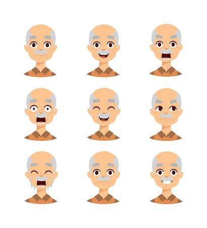 Active retirement old man emotions, group of three old male vector avatars. Old man emotions laughing.old man emotions vector icons and old man emotions avatars. Old man emotions grandfather face. Ilustração