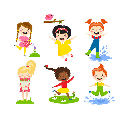 family playing: Many different summer kids, boys and girls running in the park on sunny summer day in casual clothes. Summer kids vector and playing happy summer kids. Summer kids fun joy childhood leisure.