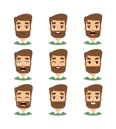 hombre con barba: Bigote, barba y el conjunto de estilos de cabello. Barbudo vector de la cara del hombre y el conjunto de la cara del hombre con barba avatar. Fashoin de la cara del hombre con barba y cara de hombre con barba retrato. Hipster con barba cara las emociones del hombre. Vectores