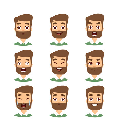 bearded man: Mustache, beard and hair style set. Bearded man face vector and set of bearded man face avatar. Fashoin bearded man face and portrait bearded man face. Hipster bearded man face emotions.