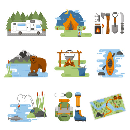 hike: Set of camping equipment symbols vector icons. Camping tent and camping fishing rod travel backpack. Campfire activity camping travel backpack. Camping hike tourist campsite fun nature element set.