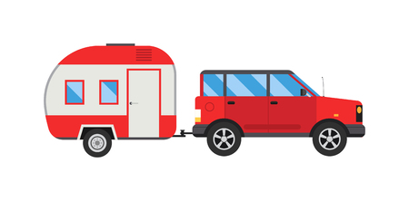 trafic: Car with jeep trailer auto transportation vector illustration. Jeep trailer vehicle car truck transport and auto transportation jeep trailer. Jeep trailer trafic camper recreation and jeep trailer.