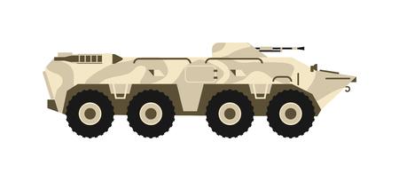 白い背景の上の BTR タンクの個人的な軍隊キャリア。BTR タンク ベクトル図、BTR は水槽マシンです。BTR 軍陸軍戦争砲、BTR タンクの武器を強制します