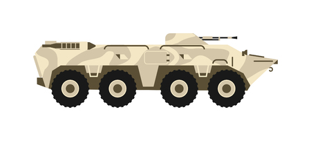 BTR tank personal army carrier on white background. BTR tank vector illustration and BTR tank machine. BTR tank military army war gun, BTR tank forces weapon. BTR transportation conflict armor tank.