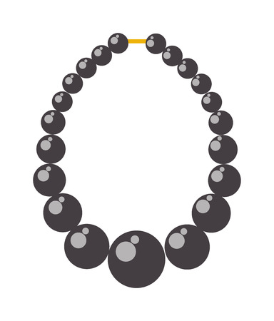 bead jewelry: Black pearl necklace. Black pearl bead necklace fashion accessory and black pearl bead jewelry gift. Black pearl bead vector illustration treasure string feminine gem elegance expensive pearl.