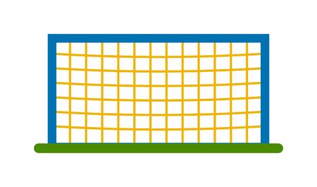 football goal: Soccer goal post with net. Association football goal on field. Qualitative vector illustration football goal for soccer, sport game, championship, gameplay. Football goal soccer sport game field.