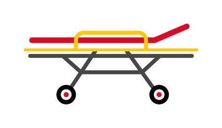 paciente en camilla: Vector de color amarillo dise�o plano emergencia m�dica caucho marco camilla de metal negro ruedas ilustraci�n. herramienta hospital de salud de los pacientes aislados y m�dica camilla atenci�n de emergencia camilla.