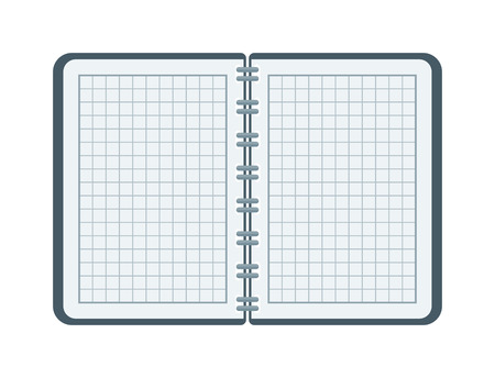 open notebook: Open notebook with white page. Open notebook vector illustration. Opened notepad book blank page white empty paper and opened notepad business note diary sheet education pad document template.