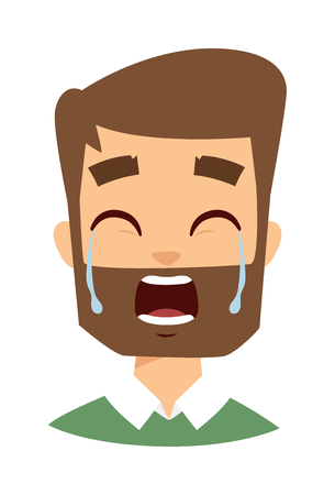 male face: Tears in eyes of crying adult man. Crying man vector and cartoon crying man face. Crying man sadness emotions and crying man expression face adult male portrait pain, depression man face.
