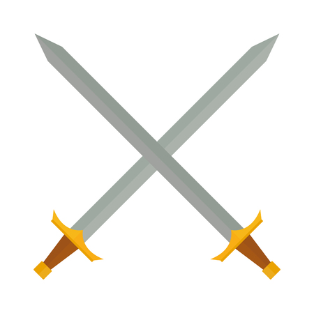 weapons: Crossed swords silhouette on white background. Medieval weapons cross swords. Collection of vector edged weapons cross swords. Silver metal sword crossed with red handles. Old cross swords.