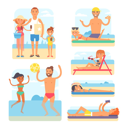 enjoyment: People on beach playing jogging surfing icons set isolated vector illustration. Beach people summer leisure and vacation travel holiday beach people. Beach people tropical enjoyment sky outdoors.
