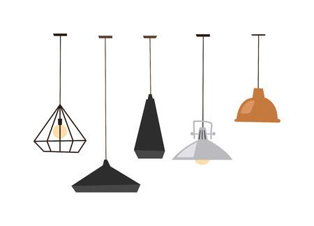 Verschillende tafellampen op een witte achtergrond. geïsoleerd lampen geïsoleerd vector elektrisch ontwerp en tafellampen lamp. Lampen geïsoleerd interieur, design en heldere apparatuur bureaulampen geïsoleerd.