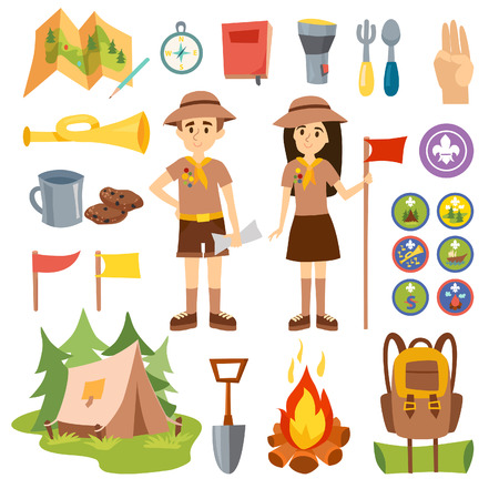 boy scouts tent: Set of camping equipment symbols and boy scouts icons. Boy scouts vector, outdoor camping icons. Boy scouts graphic nature badge tent nature camping. Boy scouts expedition, exploration summer camping.