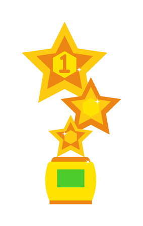 star award: Award star design concept. Star award cup vector illustration and success competition victory star award cup. Star champion winner first award cup and golden ceremony star award cup.