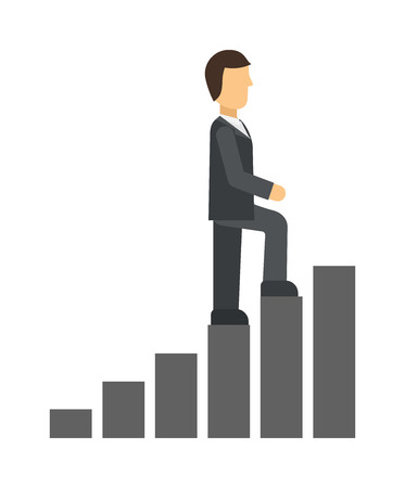 career up: Business man climbing up on hand drawn staircase concept. Business success progress up step career ladder and opportunity achievement career ladder. Work businessman career ladder leadership ambition.