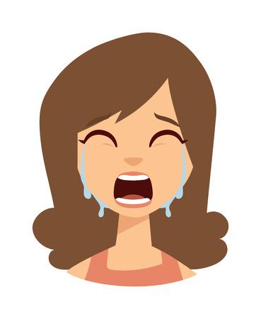 Ongelukkige vrouw huilen vector. Vrouw huilen verdriet meisje en schattige vrouw huilend gezicht. Gezicht portret depressief vrouw huilen en vrouw huilen uitdrukking frustratie tranen ogen probleem emotie. Vector Illustratie